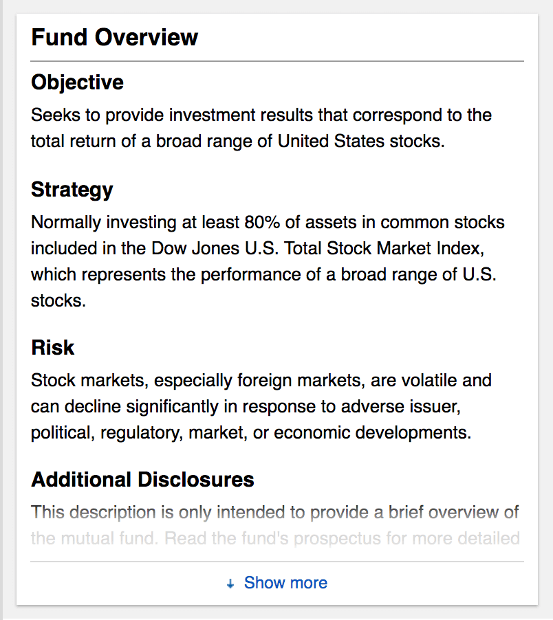 Screenshot of a Fidelity Index Fund Objective. How to pick a mutual fund. One of the first things to do is to review a funds' objective.